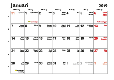 kalender på nätet 2019