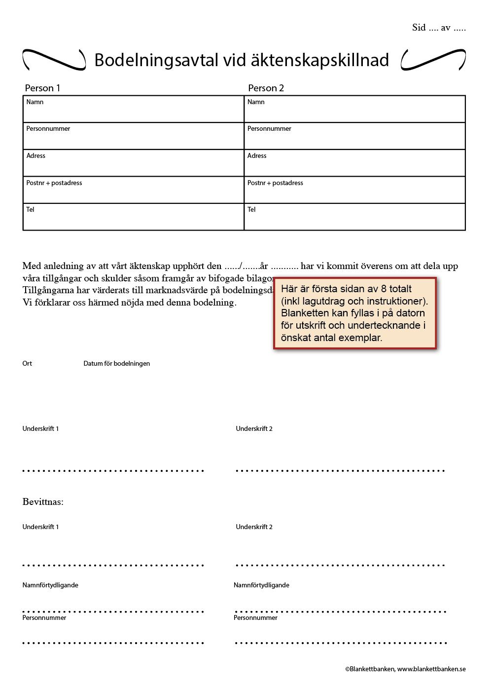 Bodelningsavtal pdf gratis